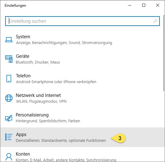 Windows 10 App Einstellungen (Schritt 2)